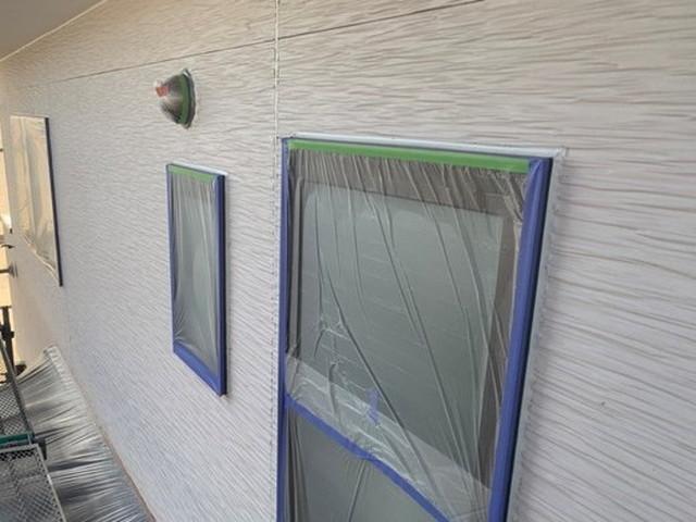 外壁塗装 下地処理 ドア 養生