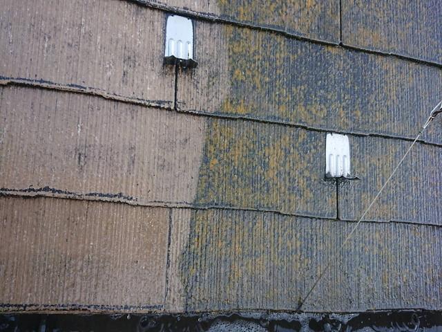塗装工事 屋根 高圧洗浄前後