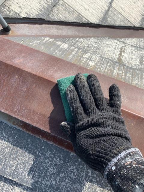 リフォーム 屋根塗装 棟板金 ケレン作業