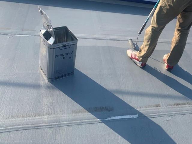 陸屋根 塗装 中塗り