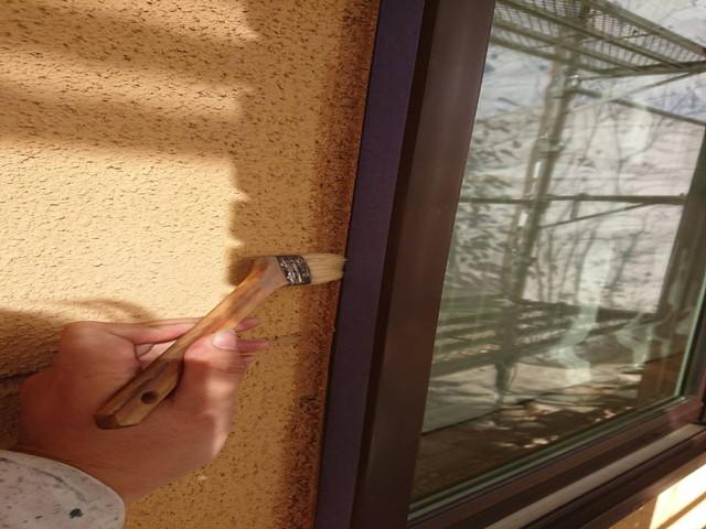 外壁塗装 下地調整 サッシ廻り プライマー塗布