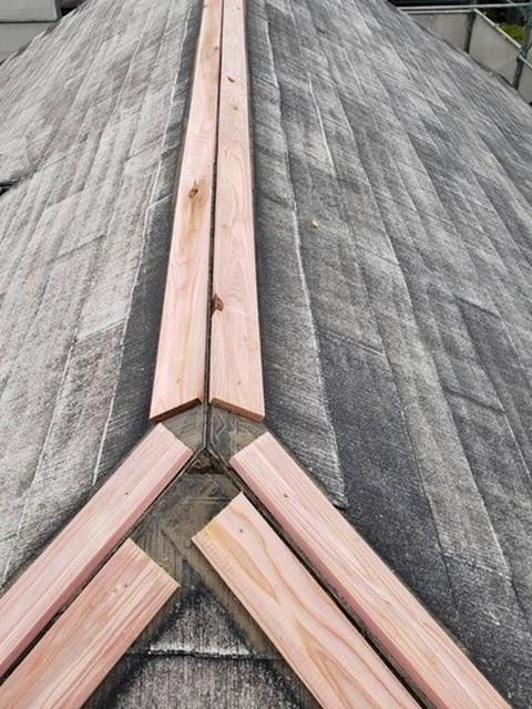 棟板金取り直し工事 新しい貫板施工