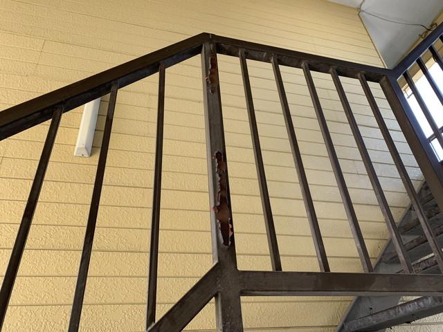 現地調査 アパート 階段手摺 劣化
