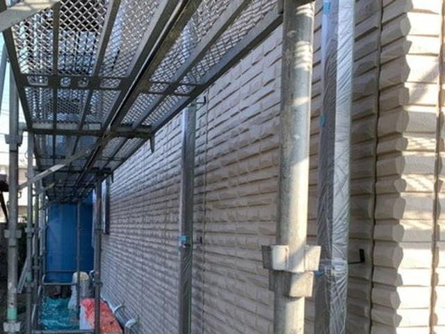 外壁 リフォーム 高圧洗浄後 足場