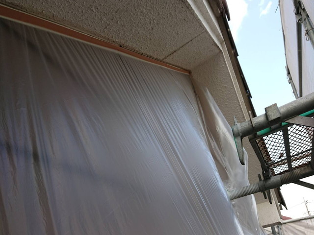 屋根塗装 軒天井塗装 養生